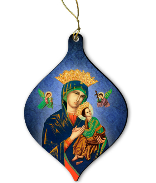 Our Lady of Perpetual Help Wood Ornament