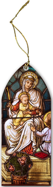 Madonna with Child Stained Glass Wood Ornament