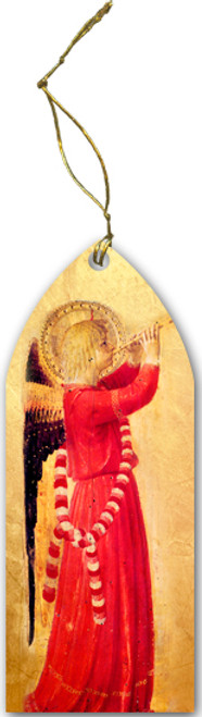 Fra Angelico Angel with Trumpet Wood Ornament