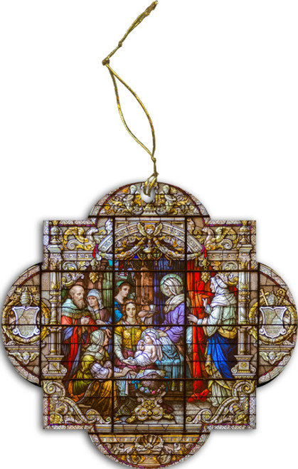 Nativity of Mary Stained Glass Wood Ornament