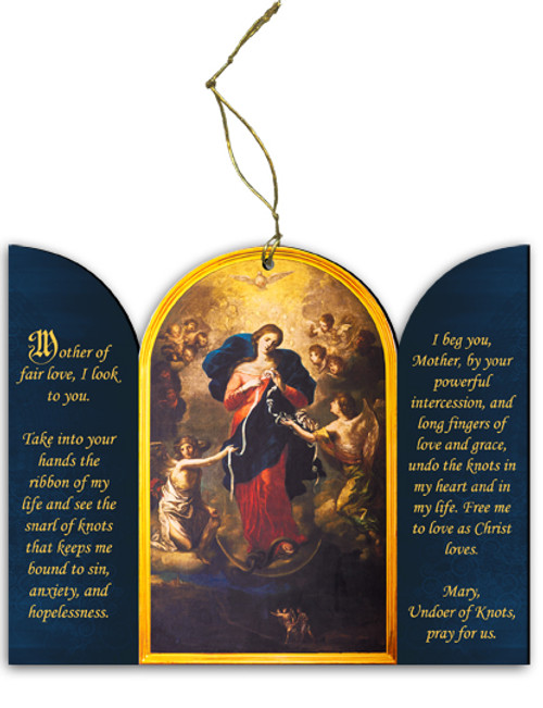 Mary Undoer of Knots Triptych Wood Ornament