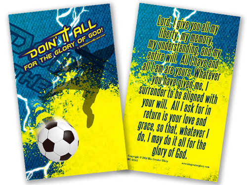 """Doing It All"" Soccer Prayer Card"