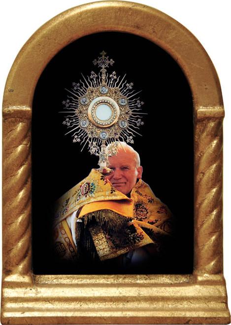 Pope John Paul II with Monstrance Desk Shrine