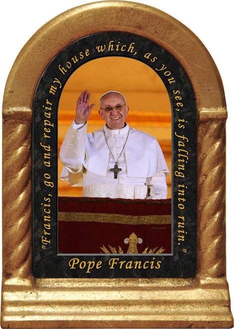 Pope Francis with Quote Desk Shrine