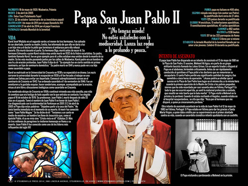 Spanish St. John Paul II Waving Explained Poster
