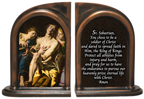 St. Sebastian Athlete's Prayer Bookends