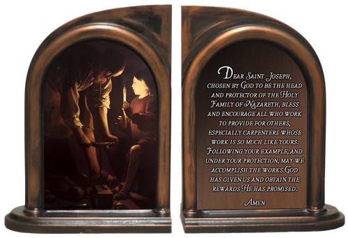 St. Joseph Carpenter's Prayer Bookends