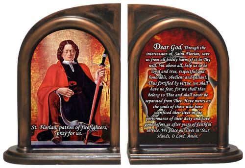 St. Florian Firefighter's Prayer Bookends