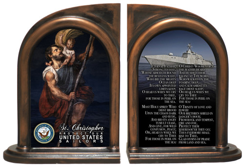 St. Christopher Navy Bookends