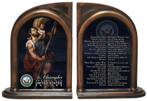 St. Christopher Navy II Bookends