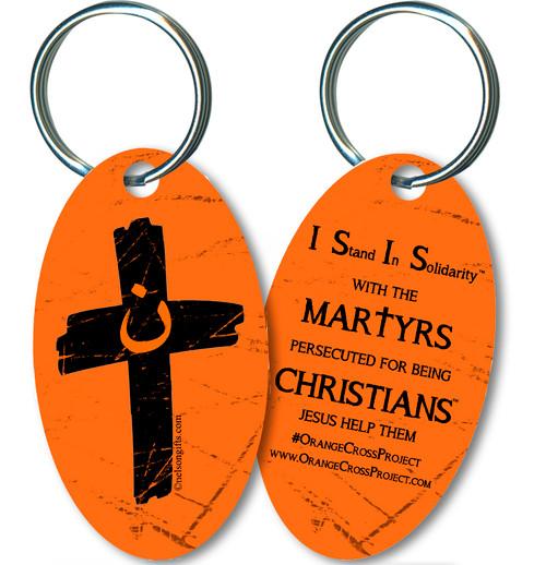 Orange Cross Project Martyr Solidarity Oval Keychain