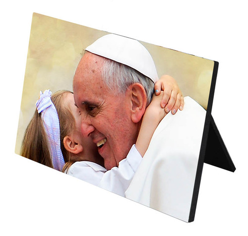Pope Francis with Child Desk Plaque