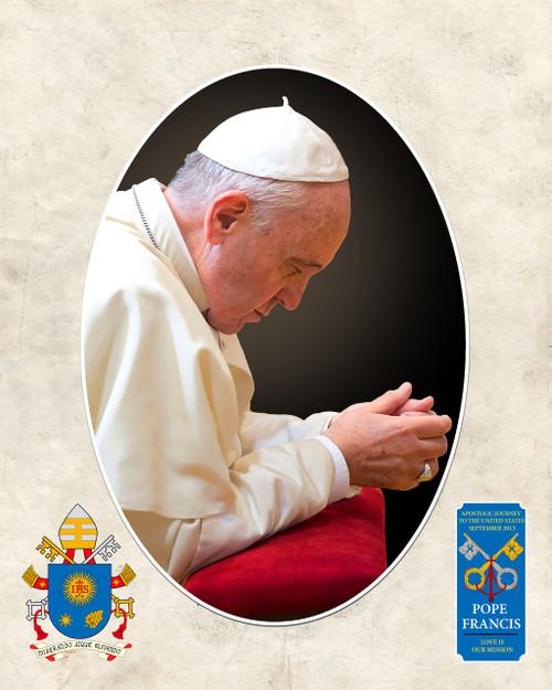 Pope Francis in Prayer Commemorative Sleeved Print