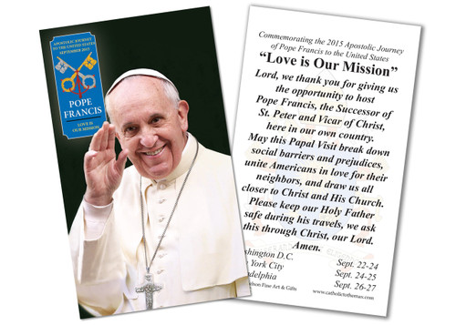 Pope Francis Waving Commemorative Holy Card
