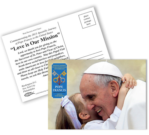 Pope Francis with Child Commemorative Apostolic Journey Postcards