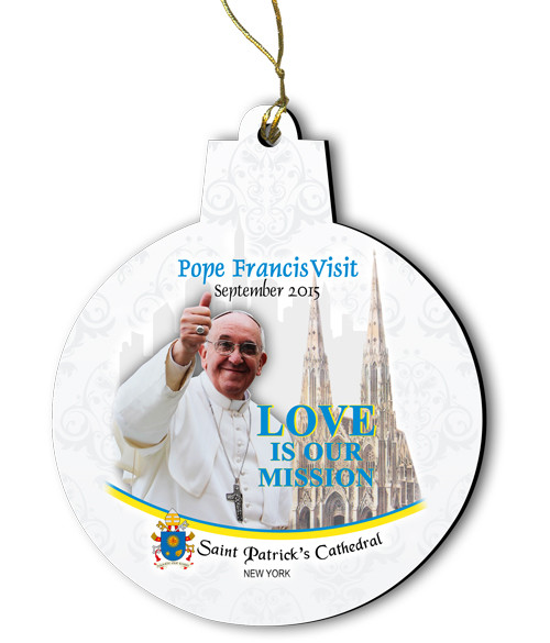 Pope Francis Visit St. Patrick's Cathedral NY Round Wood Ornament