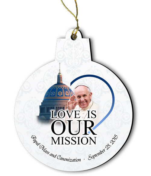 Pope Francis Visit Canonization Mass Round Wood Ornament