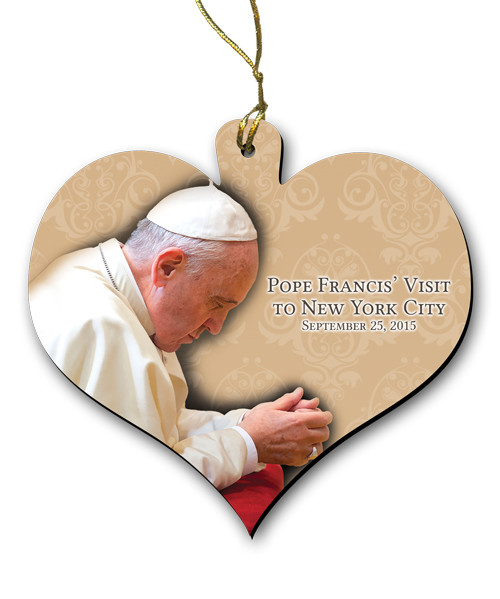 Pope Francis in Prayer New York Visit Wood Heart Ornament