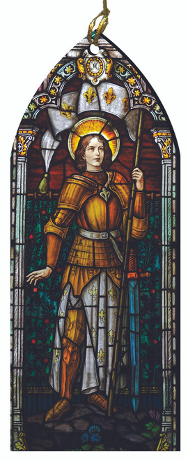 St. Joan of Arc Stained Glass Wood Ornament