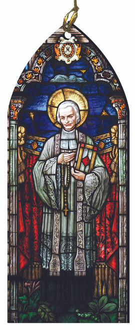 St. John Vianney Stained Glass Wood Ornament