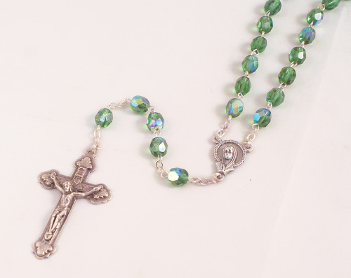 Green 6mm Peridot Glass Bead Rosary