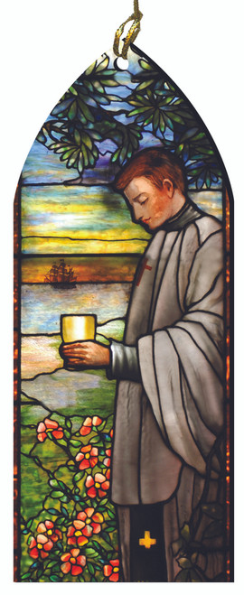 St. Aloysius Gonzaga Stained Glass Wood Ornament