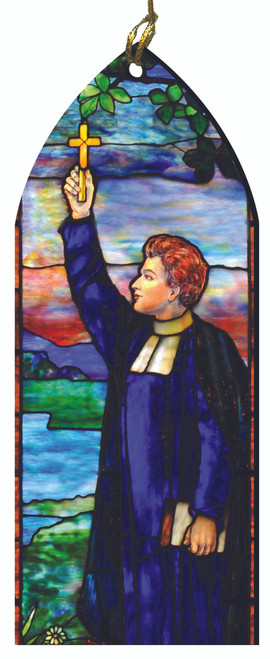 Priest Raising Cross Stained Glass Wood Ornament