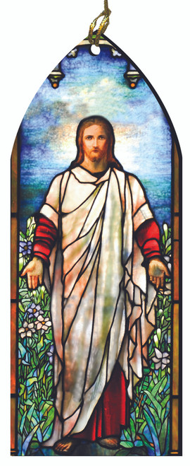 Resurrected Christ Stained Glass Wood Ornament