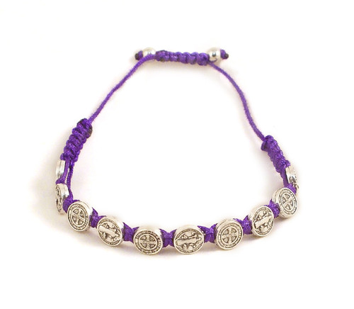 Benedictine Medal and Purple Cord Bracelet