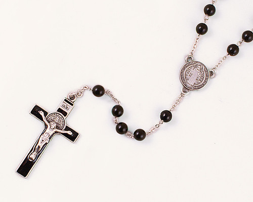 Benedictine Medal 7mm Black Glass Bead Rosary