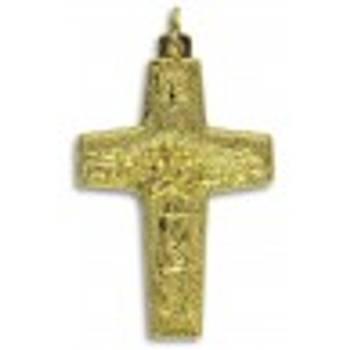 Official Pope Francis Gold Cross Crucifix 1-5/8 inch Antonio Vedele Authentic Vatican Original Pectoral Cross
