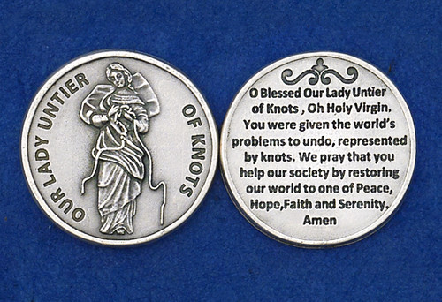 Mary Undoer of Knots Pocket Medallion with prayer - Made in Italy