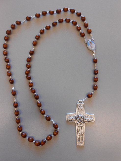 **Limited Edition** Pope Francis Commemorative Dark Wood Rosary with Large Shepherd's Cross