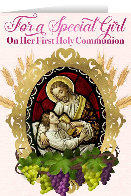 Christ and Child First Communion Girl Greeting Card