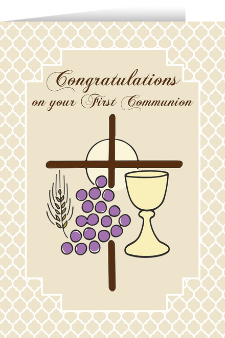 First Communion Symbols Greeting Card