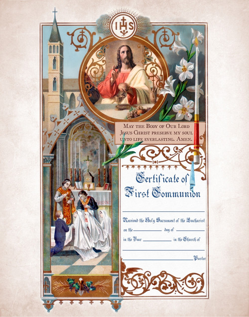 Traditional First Communion Sacrament Certificate with Priests Unframed