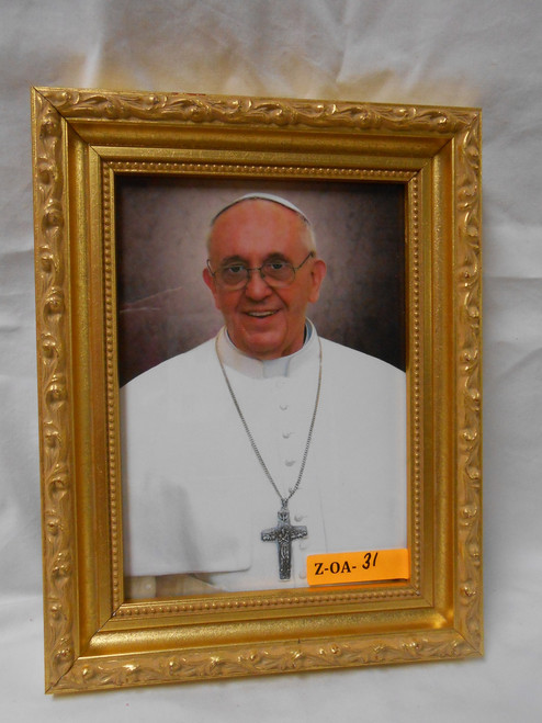 Pope Francis 5x7 Bright Gold Framed Print