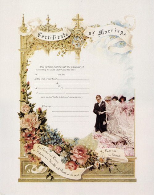 Traditional Marriage Vows Sacrament Certificate Unframed
