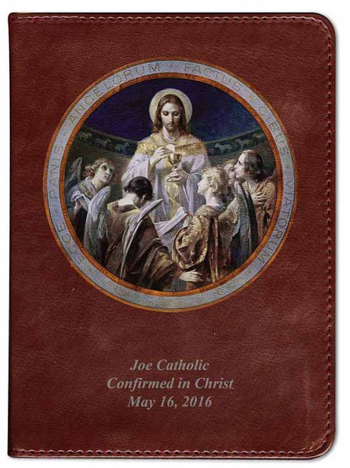 Personalized Catholic Bible with Bread of Angels - Burgundy RSVCE