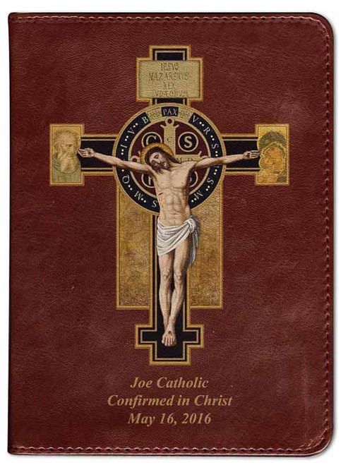 Personalized Catholic Bible with Benedictine Cross Cover - Burgundy RSVCE