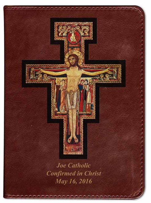 Personalized Catholic Bible with San Damiano Cross Cover - Burgundy RSVCE