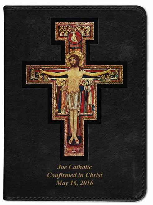 Personalized Catholic Bible with San Damiano Cross Cover - Black RSVCE