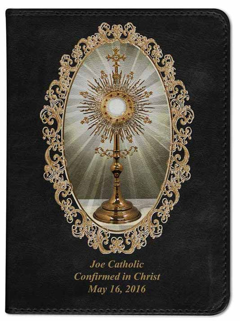 Personalized Catholic Bible with Monstrance Cover - Black RSVCE