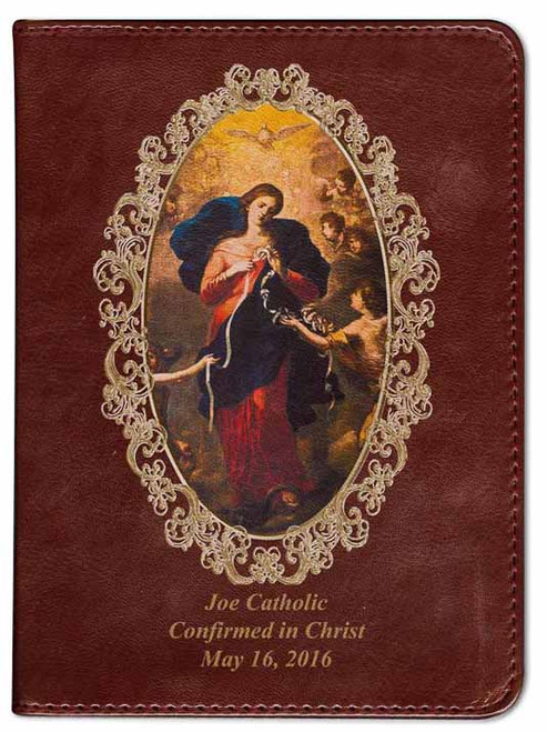 Personalized Catholic Bible with Mary Undoer of Knots Cover - Burgundy RSVCE