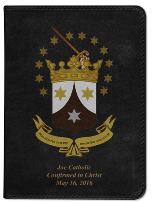 Personalized Catholic Bible with Ancient Carmelite Crest Cover - Black RSVCE