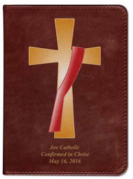 Personalized Catholic Bible with Deacon's Cross Cover - Burgundy RSVCE