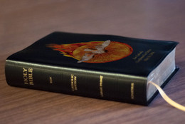 Personalized Catholic Bible with Holy Spirit Fire Cover - Black Bonded Leather RSVCE