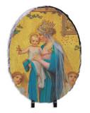 Madonna and Child by Enric M. Vidal Oval Slate Tile