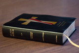 Personalized Catholic Bible with Deacon's Cross Cover - Black Bonded Leather RSVCE