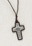 """Pope Francis Wood Mounted Shepherd's Cross 1.5"""" with cord"""